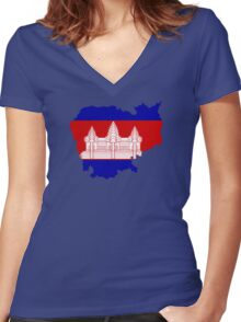 Cambodia Women's Fitted V-Neck T-Shirt