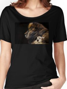 and the lion shall lie down with the lamb Women's Relaxed Fit T-Shirt
