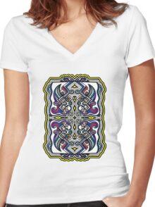 SYMMETRY - Design 005 (Color) Women's Fitted V-Neck T-Shirt