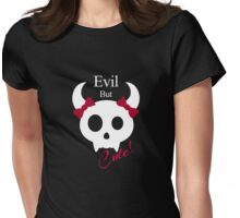 Evil But Cute Little Demon - Red Womens Fitted T-Shirt