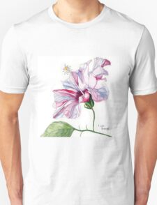 Single Pink Hibiscus Flower Unisex T-Shirt