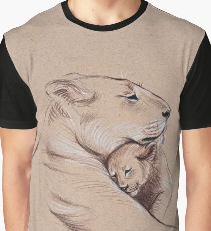 """A Mother's Pride"" Lioness and cub original pencil drawing. Graphic T-Shirt"