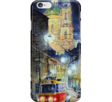 Midnight Tram  Prague  Karmelitska str iPhone Case/Skin