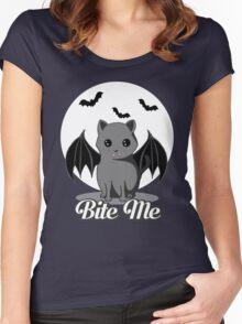 BITE ME VAMPIRE CAT - HALLOWEEN BAT CAT BY BLUETSHIRTCO Women's Fitted Scoop T-Shirt