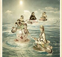 Surfers on a teacup sea by Margaret Orr