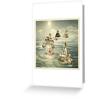 Surfers on a teacup sea Greeting Card