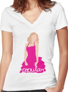 """I Know About Popular"" Galinda, Wicked Women's Fitted V-Neck T-Shirt"