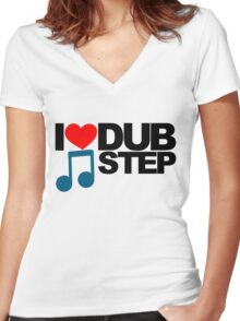 I LOVE DUBSTEP (LIGHT)  Women's Fitted V-Neck T-Shirt