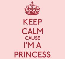 Keep Calm cause I'm a Princess (Red) Kids Clothes