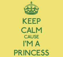 Keep Calm cause I'm a Princess (Green) Kids Clothes