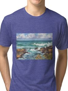 View from Kenny Walk at Nobby Head Tri-blend T-Shirt