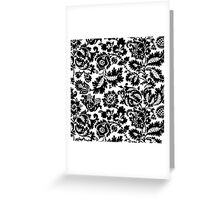 Black and White Damask Floral Bold Pattern Greeting Card