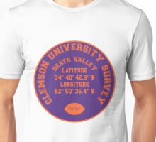 Death Valley, Clemson University (orange text on purple background) Unisex T-Shirt