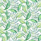 Tropical Green Leafs Pattern Watercolors by artonwear