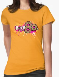 """""""Born in the 80's"""" ladies multi-pink logo Womens Fitted T-Shirt"""