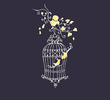 Birds open cage graphic drawing Womens Fitted T-Shirt