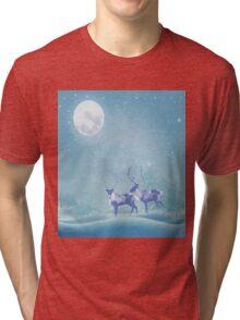 Snowy Winter Scene  Reindeer Animal Tri-blend T-Shirt