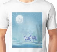 Snowy Winter Scene  Reindeer Animal Unisex T-Shirt