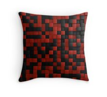 3D Illusion Red and Black Squares Pop Throw Pillow