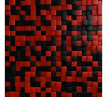 3D Illusion Red and Black Squares Pop Photographic Print