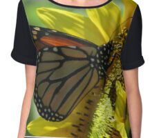 butterfly on a sunflower Chiffon Top