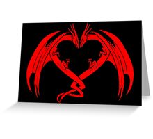 Red Love Dragons On Black Background Design Greeting Card