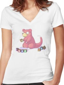 Pokemon Slowpoke Women's Fitted V-Neck T-Shirt