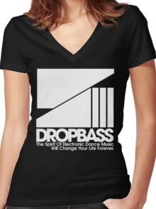 DropBass Logo (New) Women's Fitted V-Neck T-Shirt