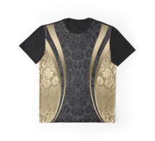 Black And Gold Damasks And geometric Stripes Graphic T-Shirt