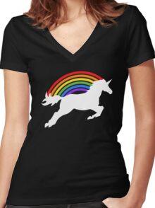 Retro Rainbow Unicorn Women's Fitted V-Neck T-Shirt