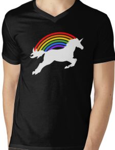 Retro Rainbow Unicorn Mens V-Neck T-Shirt