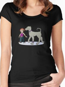 Stilysh girl with her dog Women's Fitted Scoop T-Shirt