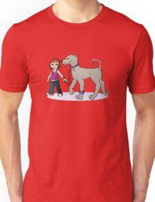 Stilysh girl with her dog Unisex T-Shirt