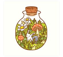 Bunny in a Bottle Art Print