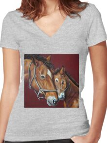 Nuzzles  Women's Fitted V-Neck T-Shirt