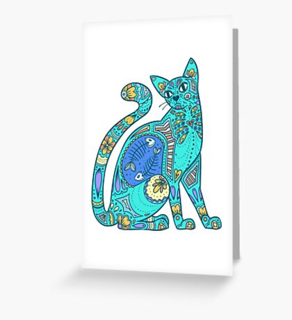 Pattern Cat - summer Greeting Card