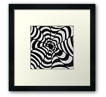 Black & White Op Art psychedelic optical illusion Framed Print