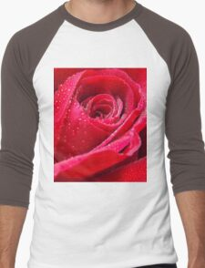 Dew on Red Rose Men's Baseball ¾ T-Shirt