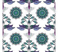Floral Nouveau- Teal Photographic Print