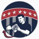 Flag Football QB Player Running Circle Retro by patrimonio