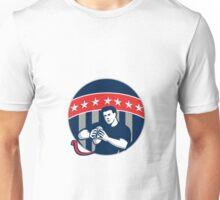 Flag Football QB Player Running Circle Retro Unisex T-Shirt