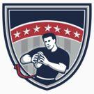 Flag Football QB Player Running Stars Crest Retro by patrimonio