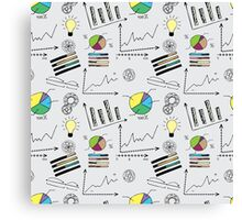 doodle finance seamless pattern Canvas Print