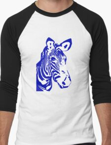 Zebra - Pop Art Graphic T-Shirt (blue) Men's Baseball ¾ T-Shirt