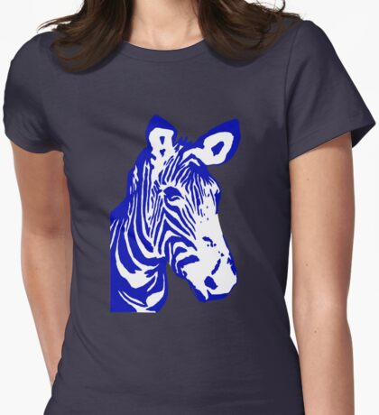 Zebra - Pop Art Graphic T-Shirt (blue) Womens Fitted T-Shirt
