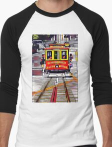 Cable Car Boxed in by Rectangles Men's Baseball ¾ T-Shirt