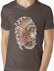 Traditional Native American Pin Up Girl HeadressTattoo design Mens V-Neck T-Shirt