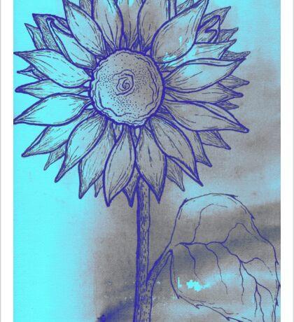 Turquoise Sunflower Sticker