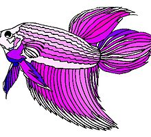 Purple Betta Fish by kwg2200