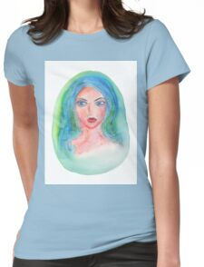 Fantasy Girl Watercolor Womens Fitted T-Shirt